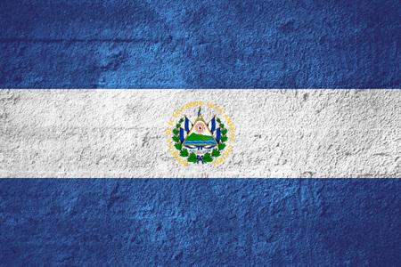 el salvadoran: flag of El Salvador or Salvadoran banner on rough texture
