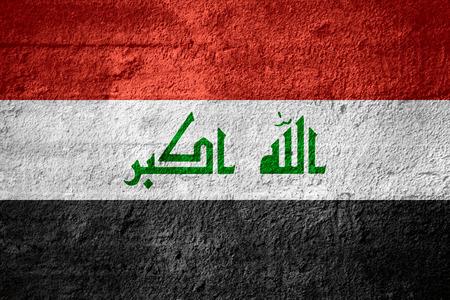 iraq: flag of Iraq or Iraqi banner on rough texture