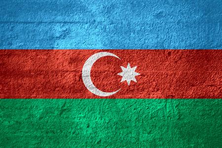 azerbaijani: flag of Azerbaijan or Azerbaijani banner on rough texture