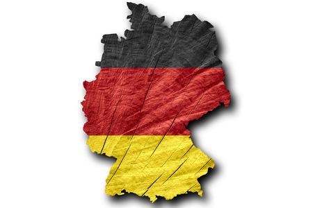bandera de alemania: bandera de Alemania o mapa de Alemania en la textura de madera Foto de archivo