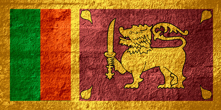 sri lankan flag: flag of Sri Lanka or Sri Lankan banner on rough texture Stock Photo