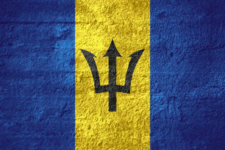 barbadian: flag of Barbados or Barbadian banner on rough texture Stock Photo