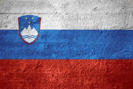 slovenian: flag of Slovenia or Slovenian banner on rough texture