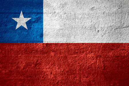 chilean flag: flag of Chile or Chilean banner on rough texture Stock Photo