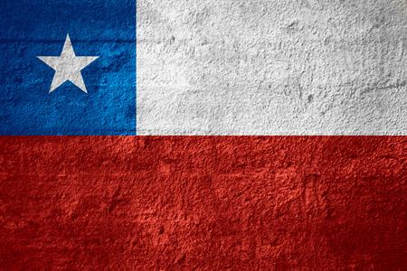 bandera chilena: flag of Chile or Chilean banner on rough texture Foto de archivo