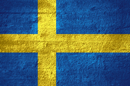 swedish: flag of Sweden or Swedish banner on rough texture