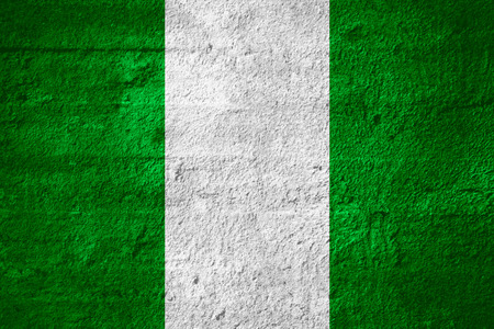 nigerian: flag of Nigeria or Nigerian banner on rough texture Stock Photo