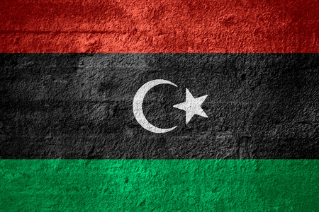 libyan: flag of Libya or Libyan banner on rough texture