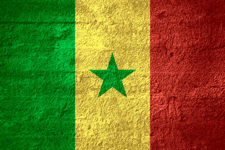 senegalese: flag of Senegal or Senegalese banner on rough texture