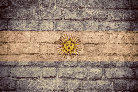 argentinean: flag of Argentina or Argentinean banner on brick texture Stock Photo