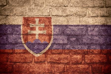slovak: flag of Slovakia or Slovak banner on brick texture