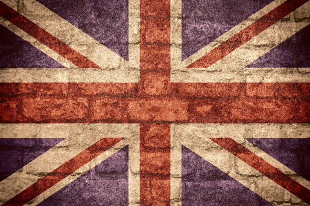 flag of Great Britain or British banner on brick texture Stock Photo