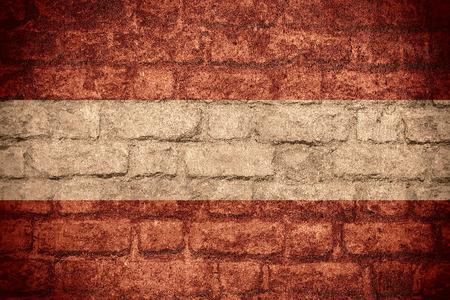austrian: flag of Austria or Austrian banner on brick texture