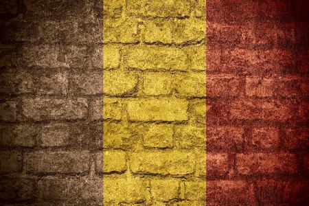 belgian: flag of Belgium or Belgian banner on brick texture
