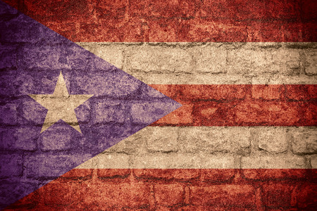 rican: flag of Puerto Rico or Puerto Rican banner on brick texture