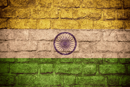 textured backgrounds: flag of India or Indian banner on brick texture Stock Photo