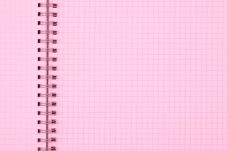 grid paper: pink page of exercise book or grid pattern paper sheet