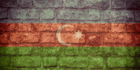 azerbaijani: flag of Azerbaijan or  Azerbaijani banner on brick texture Stock Photo