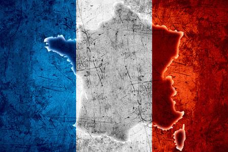 Karte von Frankreich oder Französisch Flagge auf grobe Textur