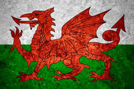 welsh flag: flag of Wales or Welsh banner on vintage background