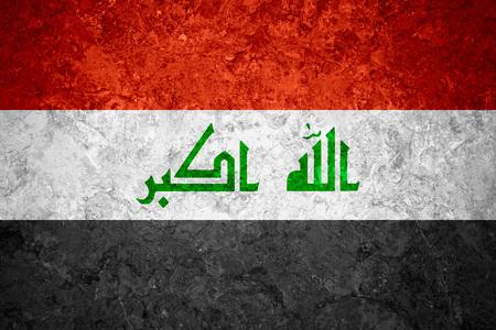 iraqi: flag of Iraq or Iraqi banner on vintage background Stock Photo