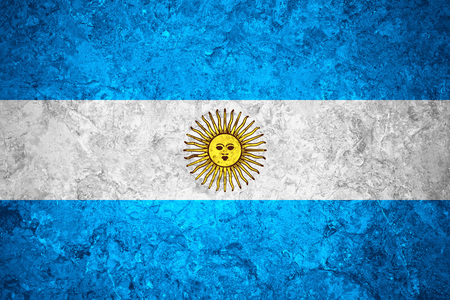 argentinian flag: flag of Argentina or Argentinian banner on vintage background Stock Photo