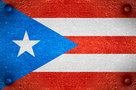 puerto rican: flag of Puerto Rico or Puerto Rican banner on steel background Stock Photo