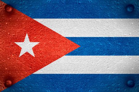bandera de Cuba o la bandera cubana en el fondo de acero