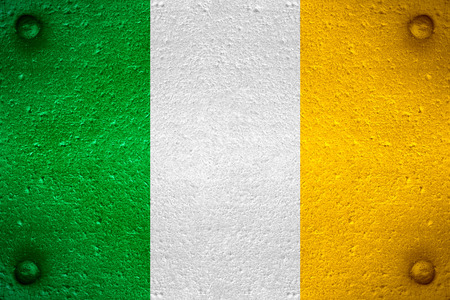 irish culture: flag of Ireland or Irish banner on steel background Stock Photo