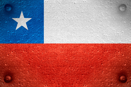 vlag van Chili of Chileense banner op staal achtergrond Stockfoto