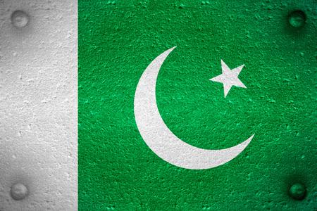 pakistani pakistan: flag of Pakistan or Pakistani banner on steel background