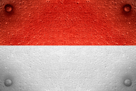 flag of Indonesia or Indonesian banner on steel background