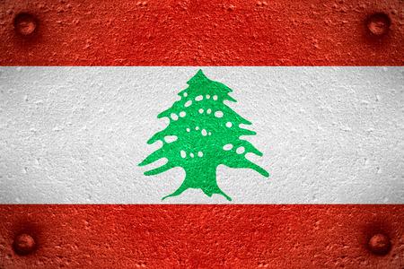 lebanese: flag of Lebanon or Lebanese banner on steel background