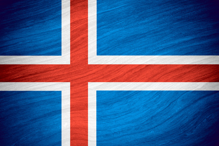 icelandic flag: flag of Iceland or Icelandic banner on abstract background Stock Photo