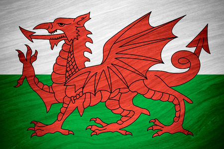 welsh flag: flag of Wales or Welsh banner on abstract background