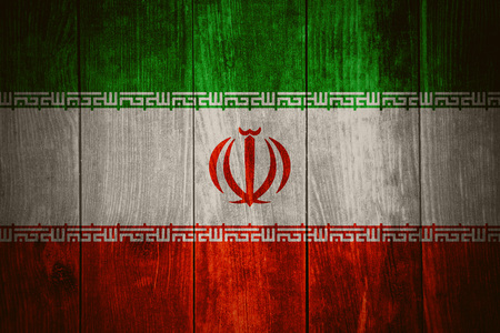 iranian: flag of Iran or Iranian banner on wooden background