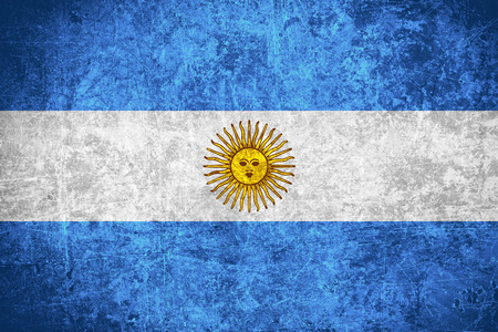 argentinian flag: flag of Argentina or Argentinian banner on scratched vintage texture