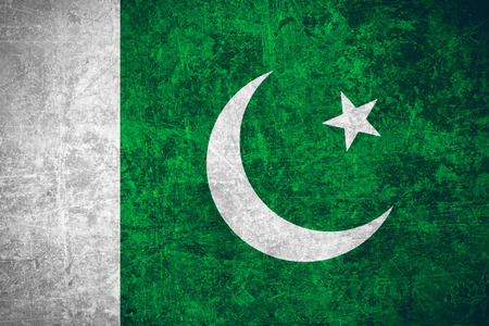 flag of Pakistan or Pakistanian banner on scratched vintage texture