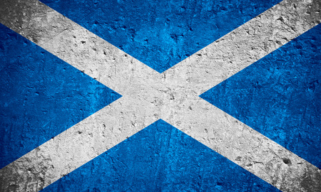 flag of Scotland or Scotch flag on scratched rough texture, Scottish flag Banque d'images