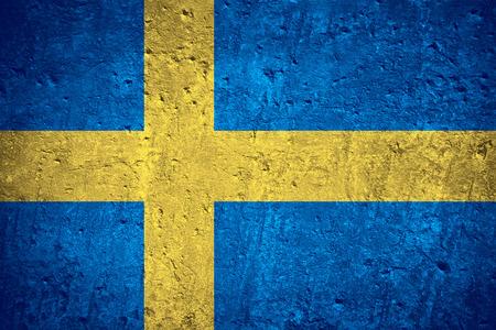 傷の大まかなテクスチャをスウェーデンやスウェーデン語のフラグのフラグ 写真素材
