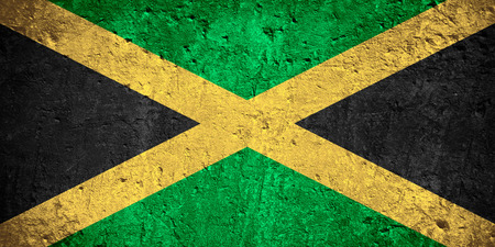 flag of Jamaic or Jamaican flag on scratched rough texture Banco de Imagens
