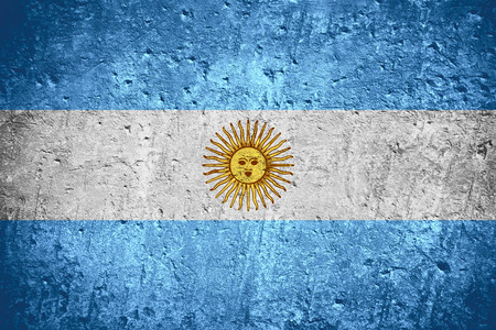 Argentina flag  or Argentinian flag on scratched rough texture