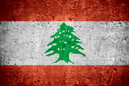 flag of Lebanon or Lebanese flag on scratched rough texture