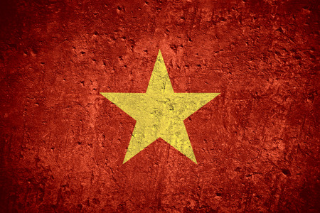 flag of Vietnam or Vietnamese flag on scratched rough texture