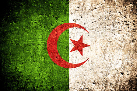 flag of Algeria or Algerian flag on scratched rough texture