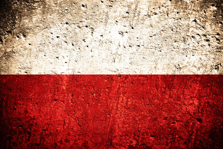 flag of Poland or Polish banner on scratched rough texture