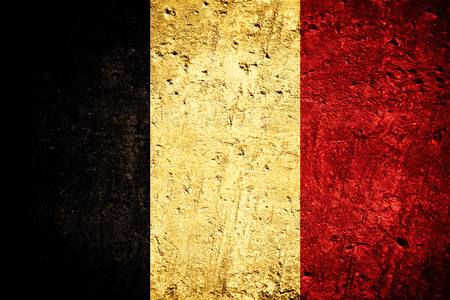 flag of Belgium or Belgian banner on scratched rough texture 免版税图像