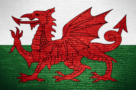 flag of Wales or Welsh banner on row pattern texture Stock Photo