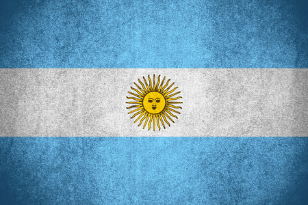 flag of Argentina or Argentinian banner on rough pattern texture