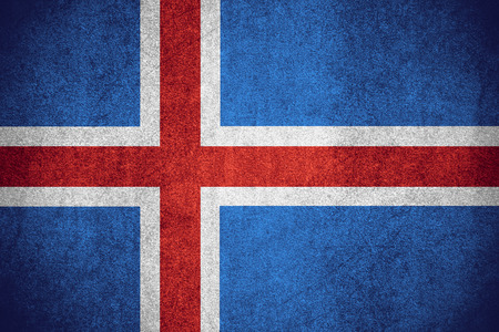 flag of Iceland or Icelandic banner on rough pattern texture